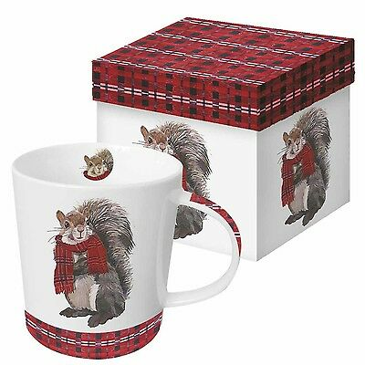 Paperproducts Design Gift Boxed Porcelain Mug 13.5 oz Plaid Spencer Squir... New