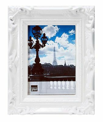 Kiera Grace Virginia Ornate Picture Frame 5 by 7-Inch White New