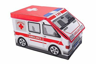 Ambulance Collapsible Toy Storage Box and Closet Organizer for Kids New
