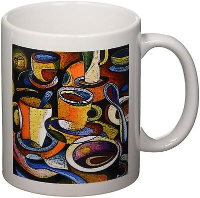 3dRose mug_21126_1 Cups Poster Mugs Coffee Spoon Abstract Colorful Cerami... New