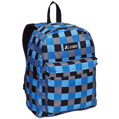Everest Luggage Printed Pattern Backpack Blue Bold Plaid Medium One Size New