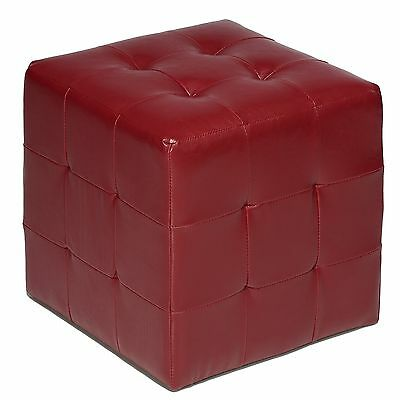 Cortesi Home Braque Tufted Cube Ottoman in Leather Like Vinyl Red New