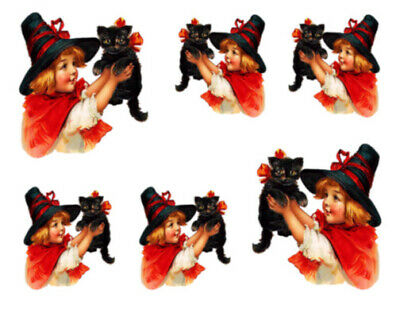 Vintage Image Victorian Halloween Girl And Cat Waterslide Decals HAL103