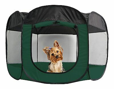 Furhaven Pet Products Portable Mesh Pet Playpen Hunter Green Small New