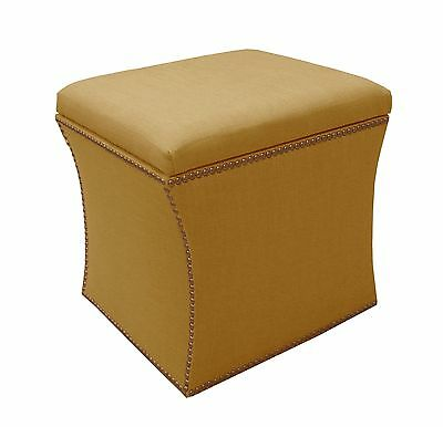 Skyline Furniture Nail Button Storage Ottoman in Linen French Yellow New