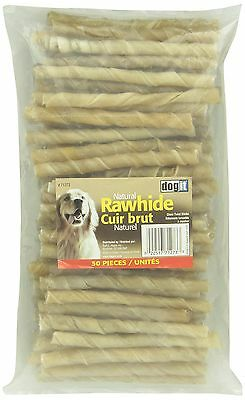 Dogit Rawhide Twisted Chew Sticks 13-15mm x 12.5cm 0.5-Inch x 5-Inch 50-P... New