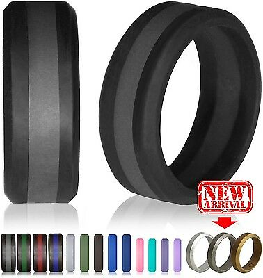 Silicone Wedding Ring by Knot Theory (Black / Slate Grey Line Size 8.5-9)... New