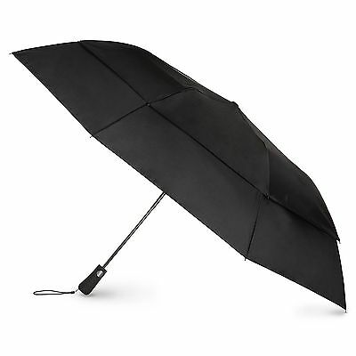 Totes Blue Line  Golf-Size Vented Canopy Compact Umbrella Black One Size New