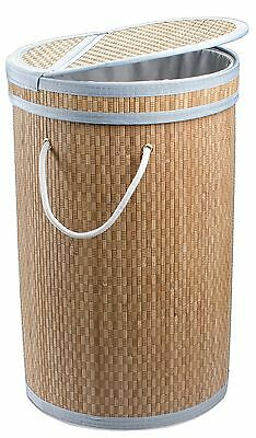 Dwellbee's Clein Collapsible Bamboo Laundry Hamper Bag Sorter Basket (Nat... New
