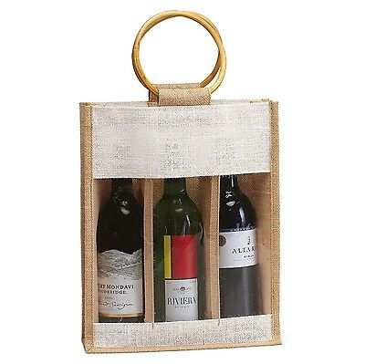 Natural Color Jute Burlap 3 Bottle Wine Carry Bag with front window and w... New