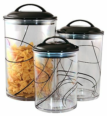 Corelle Coordinates Reston Lloyd Acrylic Canister Simple Lines Set of 3 New