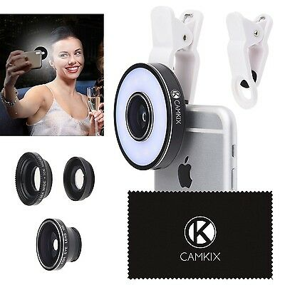 Camera Lens Kit with LED Ring Light for Phone / Tablet - Universal - Fish... New