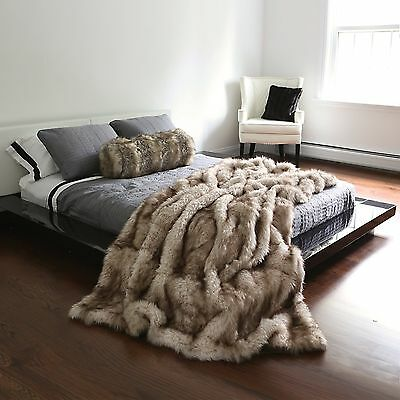 "Best Home Fashion Champagne Fox Faux Fur Full Throw Blanket 58"" x 84"" - TR New"