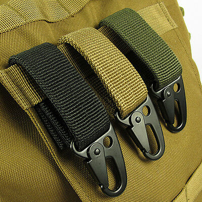 Outdoor  Nylon Key Hook Webbing Molle Buckle Hanging Belt Carabiner Clip