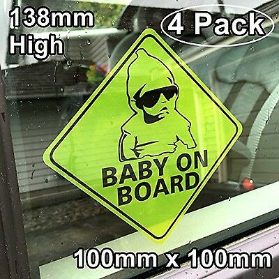 **Front Facing Self Adhesive Vinyl** (4 Pack) 138mm high BABY ON BOARD Ve... New