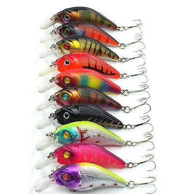 Aorace 10pcs/lot Minnow Fishing Lure Crank Bait Hooks Bass Crankbait Tack... New