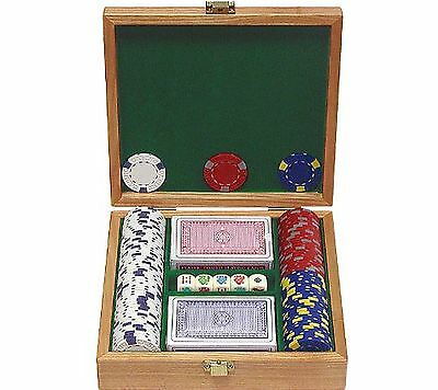 Trademark Poker 100 Pro Clay Casino Chips with Beautiful Solid Oak Case P... New