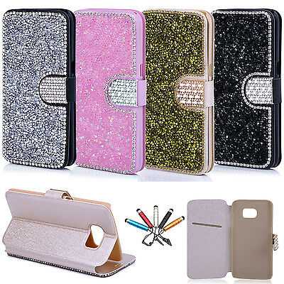 Bling Rhinestone Magnetic Leather Flip Wallet Case Cover For Samsung S8 Plus/S7