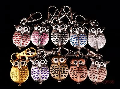 Wholesale gifts 10 pcs Owl Style Key Ring Pocket Watches 10 colours USZ99