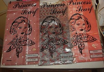 Mid Century Princess Scarf lot.  New in package
