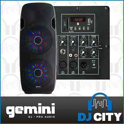 "Gemini AS-215BLU Powered Dual 15"" PA DJ Speaker w/ Bluetooth & LED Light Show"