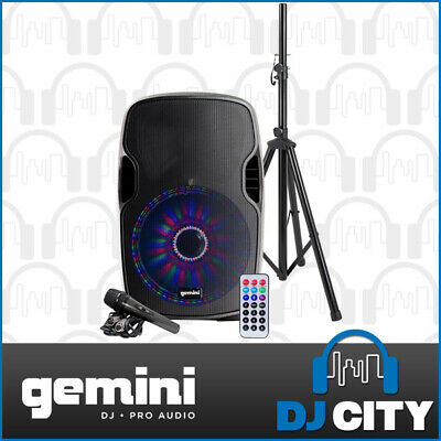"Gemini AS-12BLU-LT-PK 12"" PA Party Speaker w/ LED Light Show + Mic + Stand + BT"