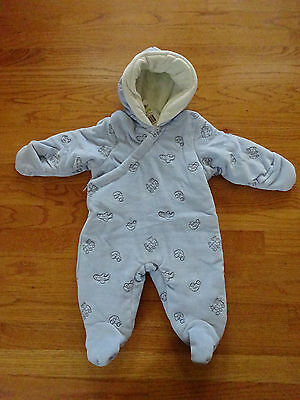 New First Impressions Boy's Blue Outerwear Hooded Snowsuit, Size 3-6 Months