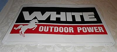 Vintage White Outdoor Power Tractor Metal Dealer Sign With The Horse
