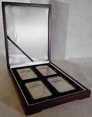 Wood Display Box For 4 Certified Coin Slab NGC, PCGS or ANA - Mahogany Finish