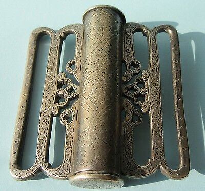Large Buckle in 800 Silver w  Elaborate Engraving Middle Eastern Ottoman
