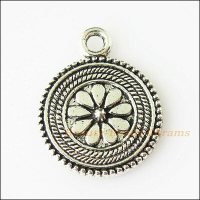 5 New Flower Round Tibetan Silver Tone Charms Pendants 17.5x22mm