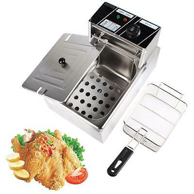 6L Electric Countertop Deep Fryer Commercial Basket French Fry Restaurant Steel