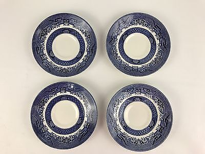 """Churchill England Blue Willow Teacup Coffee Saucer China Set of 4 Plates 5 1/2"""""""