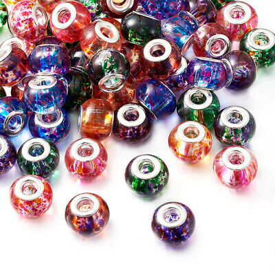 100x Mixed  Spray Painted Glass European Charm Bracelet Rondelle Beads 15x12mm