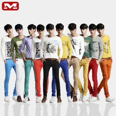 """MEN'S SKINNY JEANS SLIM FIT MULTICOLORED  PANTS THIN TROUSERS 100%Cotton W28-38"""""""