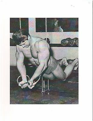 bodybuilder LARRY SCOTT Vinces Gym Working With The Rings Muscle Photo b+w