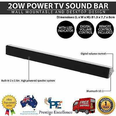 20W Slim TV Sound Bar Universal Bluetooth AUX LED Remote Audio Soundbar Speaker