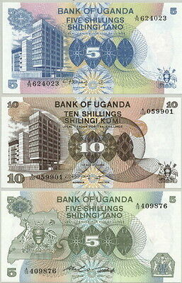 3 Attractive Older Uganda Banknotes Currency Paper Money P-10, 11 & 15- Au-Unc!