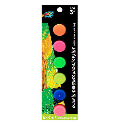 10 x Glow In the Dark Acrylic Paint Set 6 Colour 4ml Safe Great for Art Project