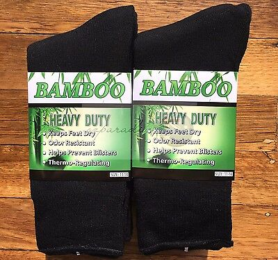 6 Pairs SIZE 11-14 98% BAMBOO SOCKS Men's Heavy Duty Premium Thick Work BLACK