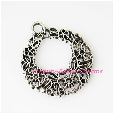 6 New Round Circle Flower Tibetan Silver Tone Charms Pendants 25.5x30mm