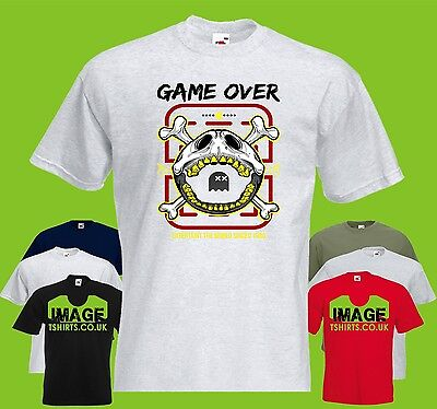 Pac Skull Mens PRINTED T-SHIRT Man Game Over Gaming Funny Text Crossbones Ghost