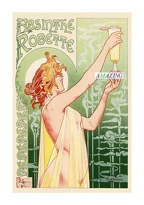 Vintage Style French Art Nouveau Advertising Poster: Absinthe Robette: A4