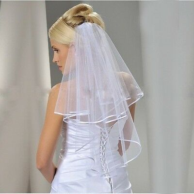 White or Ivory Bridal Veil Two Layer Elbow Length Wedding Veil