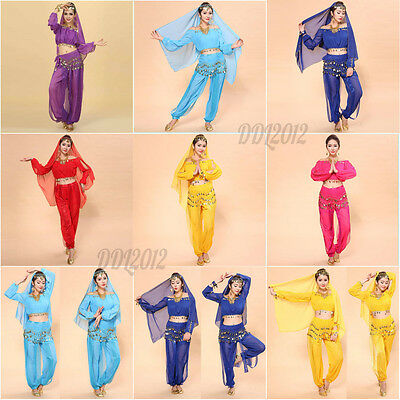 Womens Bollywood Indian Belly Dance Dress Costume set Top+Pants+Veil clothes set