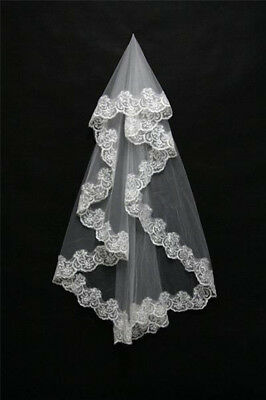 1 Layer White Ivory Elbow Length Lace Edge Bride Wedding Bridal Veil