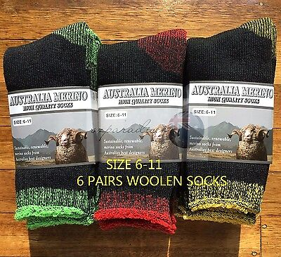 6 Pairs 6-11 Heavy Duty Australian Merino Extra Thick Wool Work Socks