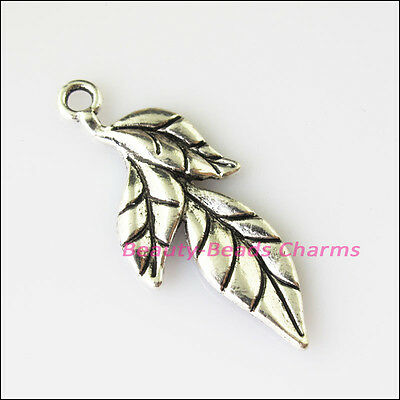 5 New Leaf Leaves Tibetan Silver Tone Charms Pendants 16.5x40mm