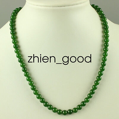 Chinese Beautiful Handcarved 100% Natural Jade Beads Green womens Necklaces W73