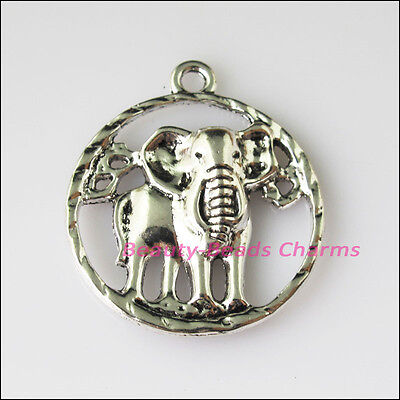 3 New Round Elephant Animal Tibetan Silver Tone Charms Pendants 27x31.5mm